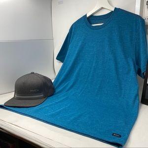 RVCA Vintage Dye Red-Thread Marine Blue T-shirt L